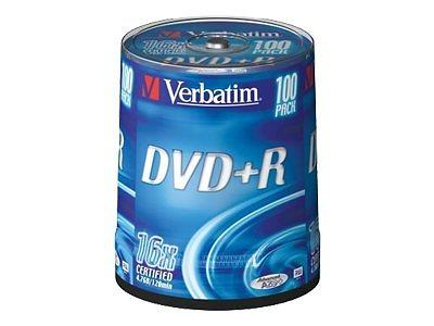 Verbatim DVD+R 4,7GB 16x 100pz Spindle