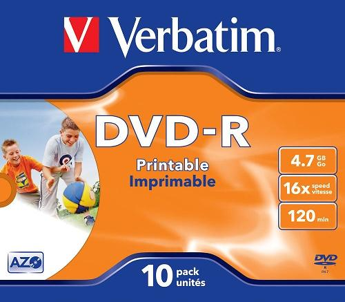 Verbatim DVD-R 4,7GB 16x 10pz Jewelcase Wide Inkjet