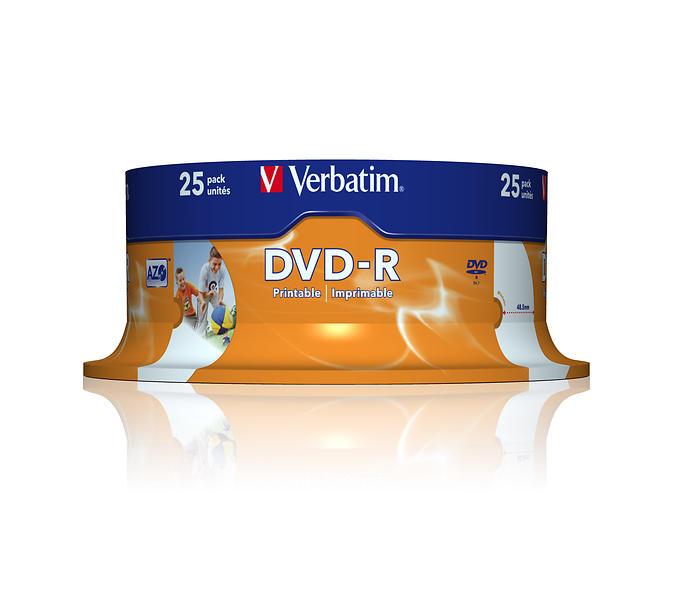 Verbatim DVD-R 4,7GB 16x 25pz Spindle Wide Inkjet