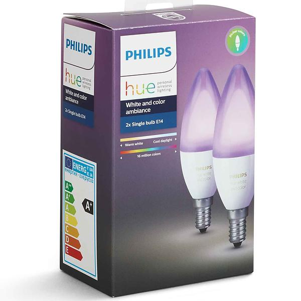 Philips Hue White and Color Ambiance B39 6500K E14 6,5W 2-pack (Dimmerabile)