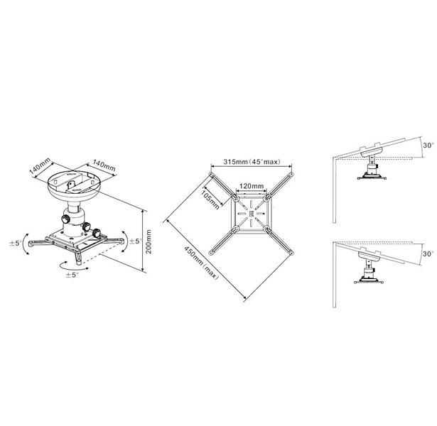 Multibrackets M Universal Projector Ceiling Mount 200 with Fine tune