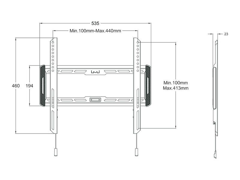 Multibrackets M Universal Wallmount Fixed Medium