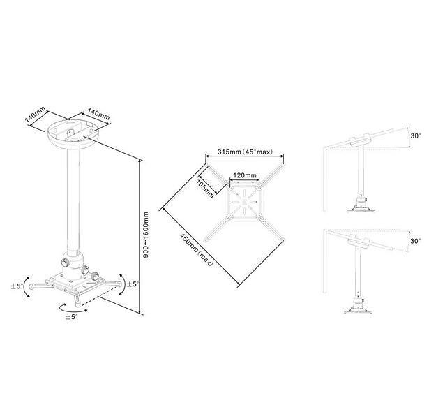 Multibrackets M Universal Projector Ceiling Mount 900-1600 Fine Tune