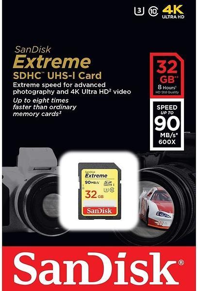 SanDisk Extreme SDHC Class 10 UHS-I U3 90/40MB/s 32GB