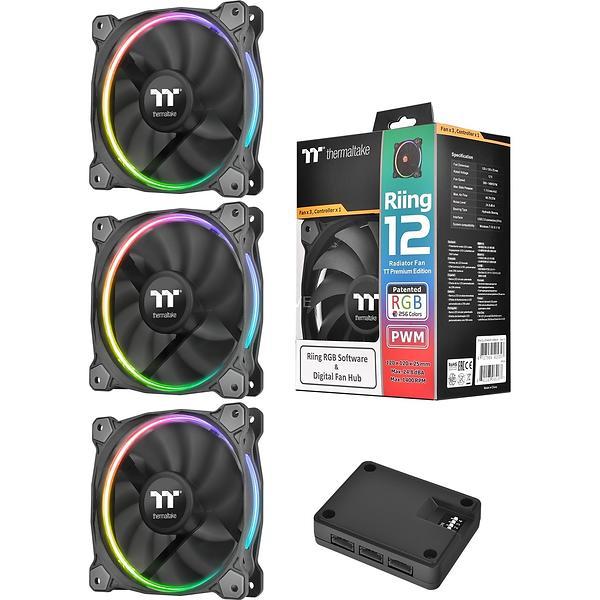 Thermaltake Premium Riing 12 RGB PWM 120mm LED 3-pack