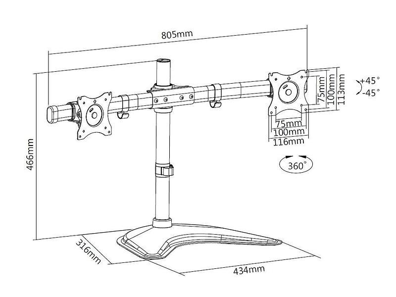 Multibrackets M Deskstand Basic Dual