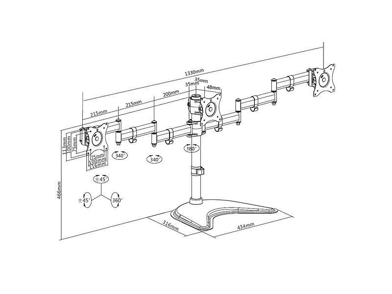 Multibrackets M Deskstand Basic Triple