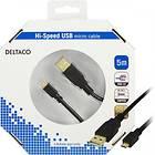 Deltaco Gold USB A - USB Micro-B 2.0 5m