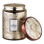 Voluspa Large Embossed Glass Jar Candle Gilt Pomander & Hinoki