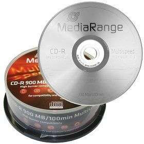 MediaRange CD R 900MB 25 Pack Multispeed Cakebox