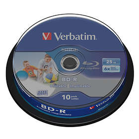 Verbatim BD-R 25GB 6x 10-pakning Spindel Wide Inkjet