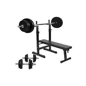 Gorilla Sports Bänkpress Med Skivstång Och Hantelset 70kg