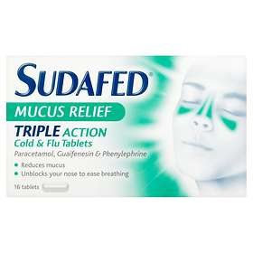 McNeil Sudafed Mucus Relief Triple Action Cold & Flu 16 Tablets