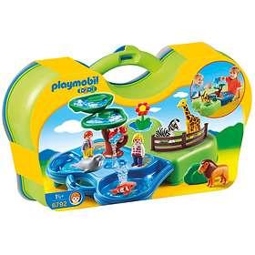 Playmobil 1.2.3 6792 Zoo Transportable Avec Bassins Aquatiques