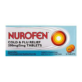 Reckitt Benckiser Nurofen Cold & Flu Relief 200mg/5mg 16 Tablets