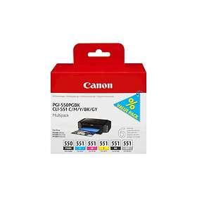 Canon CLI-551C/M/Y/BK/GY (5 Farger) + PGI-550PGBK (Pigmentsort)