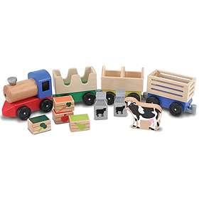 Melissa & Doug Wooden Farm Train Toy Set 4545