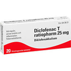Ratiopharm Diclofenac T Filmdragerad 25mg 20 Tabletter