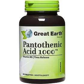 Great Earth Pantothenic Acid (Pantotensyra) 1000mg 90 Kapslar
