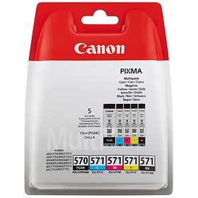 Canon CLI-571C/M/Y/BK (Cyan/Magenta/Gul/Sort) + PGI-570PGBK (Pigmentsort)
