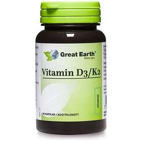 Great Earth Vitamin D3/K2 2000IU 90 Kapslar