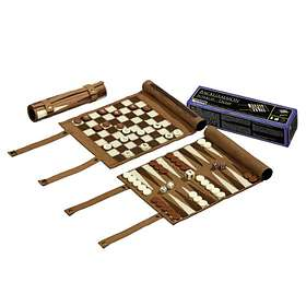 Philos Spiele Backgammon Chess Checkers Set Roll Up (pocket)
