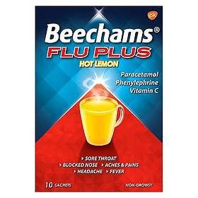 GSK GlaxoSmithKline Beechams Flu Plus Hot Lemon Pulver 10pcs