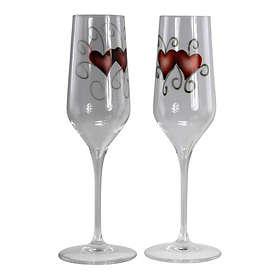 Nybro Crystal Heart Champagneglas 23cl 2-pack