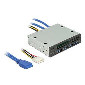 DeLock 3.5'' USB 3.0 Multi-Card Reader with USB Hub (91493)