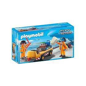 Playmobil City Action 5396 Agents avec tracteur à bagages