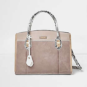 River Island Stone And Snake Print Structured Tote Bag 692638