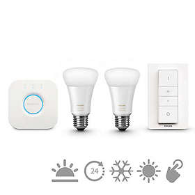 Philips Hue White Ambiance Starter Kit E27 LED 2-pack (Kan dimmes)