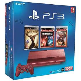 Sony PlayStation 3 Slim 500Go (+ God of War + Infamous + Uncharted) - Red