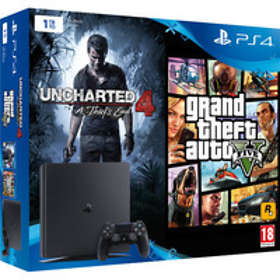 Sony PlayStation 4 Slim 1To (+ Uncharted 4 + Grand Theft Auto V)