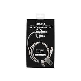 Streetz USB A - USB Micro-B 2.0 (with Lightning and USB C) 1m