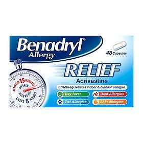 Benadryl Allergy Relief Acrivastine 48 Capsules