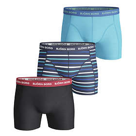 Björn Borg Stripe Essential Black Blue Shorts 3-Pack