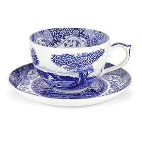Spode Blue Italian Jumbo Kaffekkopp med fat 56cl