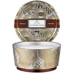 Voluspa Pedestal 3 Wick Tin Candle Gilt Pomander & Hinoki
