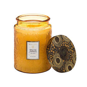 Voluspa Large Embossed Glass Jar Candle Baltic Amber