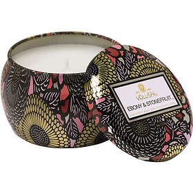 Voluspa 3 Wick Candle In Decorative Tin Ebony & Stonefruit