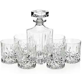 Bohemia Crystal Glass Crystalite Classico Karaffel 75cl Med 6 Whiskyglass 30cl