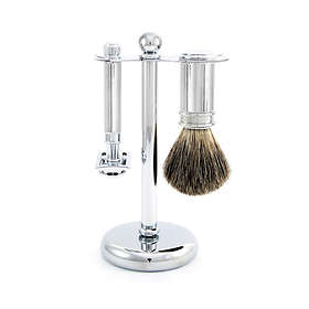 Edwin Jagger Chrome Lined Safety Razor - Pure Badger (3-delar)