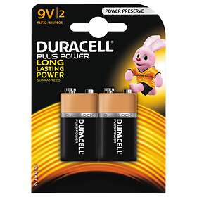 Duracell Plus Power 9V-batterier (6LR61) [2-pack]