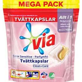 VIA Color Sensitive Tvättkapslar 40-pack