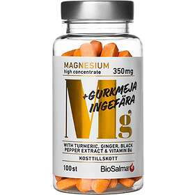 Biosalma Magnesium 350mg+ Gurkmeja Ingefära 100 Tabletter