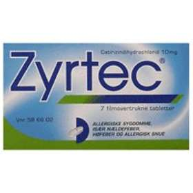 UCB Nordic Zyrtec 10mg 7 Tabletter