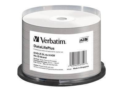 Verbatim DVD+R DL 8,5GB 8X 50pz Spindle Professional Inkjet