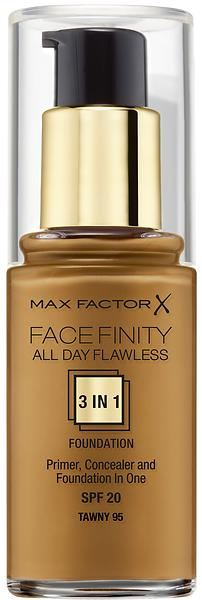 best deals on max factor face finity all day flawless 3in1 foundation spf20 30ml foundation. Black Bedroom Furniture Sets. Home Design Ideas