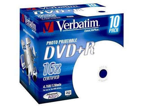 Verbatim DVD+R 4,7GB 16x 10pz Jewelcase Wide Inkjet